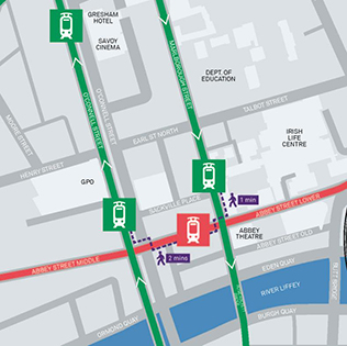 Transfer between Luas lines